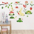 Tavşan Kurbağa Sevimli Hayvanlar Çocuk Odası Dekoru Duvar Sticker