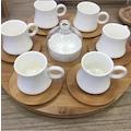 Acar Dönen Standlı Bambu Tepsili 6lı Kahve Fincan Takımı Porselen