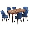 Evform Yakut 6 Sandalyeli Açılır Salon Mutfak Yemek Masa Takımı