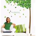 Ev Dekorasyonu Ağaç ve Yeşil Yapraklar PVC Sticker Duvar Dekoru