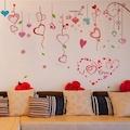 Kırmızı Kalpler Ev Salon Ofis Dekorasyonu Duvar Dekoru Sticker