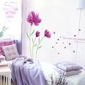 Mor Zambak Çiçekleri Ev Dekorasyonu Salon Duvar Dekoru Sticker