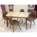 Ahşap Ayaklı Masa + 4 Adet Kahverengi Sandalye