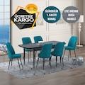 Siyah Mermer Modeli Yemek Masası ve Oval Gold Sandalye Takımı