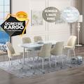 Kristal Mermer Modeli Yemek Masası ve Oval Gold Sandalye Takımı