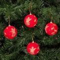 KBK Market Yılbaşı Çam Ağacı Süsü Kırmızı Desenli 7 cm 4'lü
