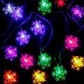 Yılbaşı Çam Ağacı Kar Tanesi Desenli Led Işık