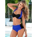 Siyah Mavi Boyundan Bağlamalı Yüksek Bel Mayo Bikini Takım