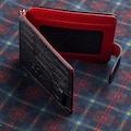 İsimli Deri Kartlık Cüzdan Çift Taraflı Kırmızı-Siyah Renk