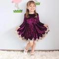 Mor Etek Ucu Güpürlü Kız Çocuk Kadife Elbise