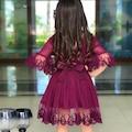 Mor Güpürlü Prenses Kız Çocuk Elbise