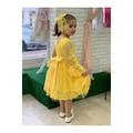 Sarı dantelli kız çocuk elbise