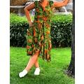 Beymen Bayan Çiçek Desenli Yeşil Elbise Rahat Kesim Asimetrik