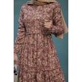 Çiçekli Kadife Elbise