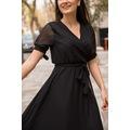 Kol Bağlamalı Düz Şifon Elbise