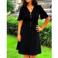 Beymen Bayan Siyah Elbise Fermuarlı Diz Üstü Kısa Kollu