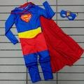 Süperman Çocuk Kostümü - Tulum ve Pelerin Maske İle 3 Lü set Süpe