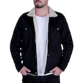 Efeel Fur Jacket Kürklü Erkek Mont Siyah Kalın Gabardin Ceket