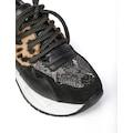 Basura Bayan Spor Ayakkabı Siyah Süet-Siyah Deri-Platin Yılan-L