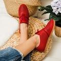 Braum Kırmızı Hakiki Deri Lazer Desenli Casual Ayakkabı