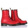 Sothe DM-2019 Kırmızı Deri Kadın Bot Bağcıklı Postal Ayakkabı
