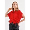 Ayarlanabilir Büzgülü Düşük Apoletli Gömlek - Kırmızı