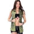 Cipo&Baxx WH107 Paramparça Yırtık Taş İşlemeli Bayan Kot Yelek
