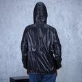 Kadın Siyah Yağmurluk İnce Mont Kapüşonlu