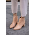 İsabella Ten Mat  Kadın Kısa  5cm Kalın Topuklu Botie