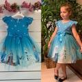 3-7 Kız çocuk elsa kostümü , karlar ülkesi prensesi elsa elbise