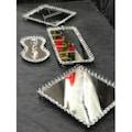 Sunum Masası Set Üçlü Jardinyer Vazo Lokumluk Şekerlik Tepsi Seti