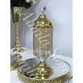 Sunum Masası Seti Üçlü Gold Jardinyer Şamdan Drajelik Metal Vazo