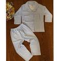 Kız Ve Erkek Çocuk 1-6 Yaş Önden Düğmeli Çizgili Pijama