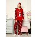 Desenli Peluş Polar Uzunkollu Kışlık Bayan Pijama Takımı