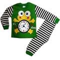 Erkek ve Kız Çocuk 1-3 Yaş Kurbağalı Çizgili Pijama Takım