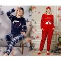 Kışlık Uzun Kollu Bayan Peluş Polar Pijama Takımı %100 Pamuk