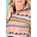 FullaModa Kadın Etnik Desenli Yarım Fermuarlı Pudra Sweatshirt