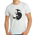 Bant Giyim - Yin Yang Kedi Beyaz Erkek T-shirt Tişört