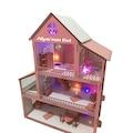 İsimli Işıklı Büyük Boy Ahşap Oyun Evi 80cm + 20 Mobilya