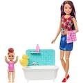 Barbie Bebek Bakıcılığı Oyun Seti Banyo Temalı (FXH05)