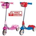 3 Tekerlekli Frenli Sepetli Erkek ve Kız Çocuk Scooter