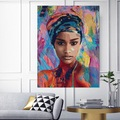 Dekoratif Afrika'lı Kadın HD Dev Poster 50x70cm Boy Tüp Kutulu
