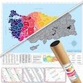 3 Adet Scratch Map Kazınabilir Dünya + Türkiye, Karikatür Harita