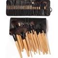24 Parça Ahşap Deri Çantalı Makyaj Fırça Seti Makeup Fırça Seti