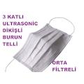 3 Kat Ultrasonic Cerrahi Yüz Maskesi 50 Adet Burun Telli