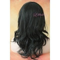 50 cm siyah orta uzunlukta dalgalı sentetik peruk