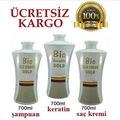 Bio Keratin Gold (5 AY) Kalıcı Brezilya Fönü 3'lü Set 700 Ml