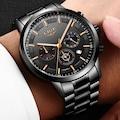 Lige 9929 Erkek Kol Saati Siyah Çelik Kordon Fonksiyonlu Saat