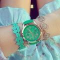 Kadın Kol Saati Suni Deri Kordon Yeşil