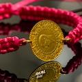 22 Ayar Altın Eski Tarih Çeyrekli Örgü Bileklik Kırmızı